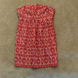 Strapless Red and White Ikat Dress